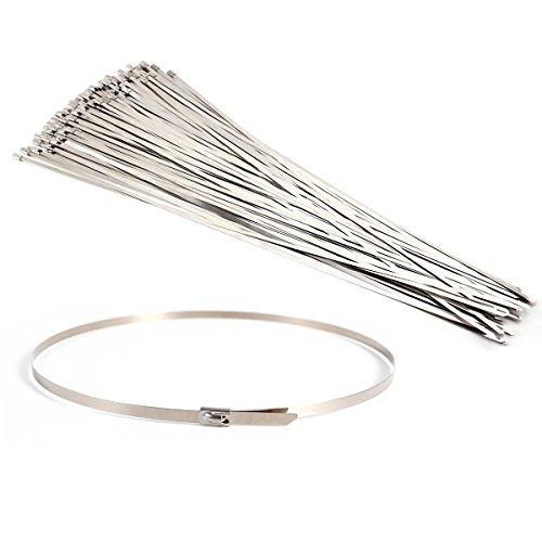 Edelstahl Metall Kabelbinder 4,6mm Krawatte Zip Wrap Auspuff Hitze Träger 100
