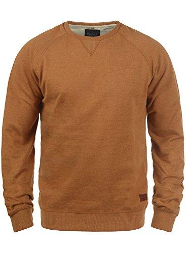 BLEND Alex Herren Sweatshirt Pullover Sweater mit Rundhalskragen aus hochwertiger Baumwollmischung, Größe:XL, Farbe:Rust Brown (71512)