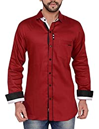 PP Shirts Men Maroon Coloured Partywear Shirt With Potli Button