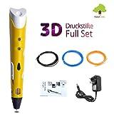 3D-Pen.Stift für 3D Zeichnungen zur Erstellung von dreidimensionalen Zeichnungen, Kunstwerken, Modellen von Hand. Kompatibel mit 1,75 mm ABS und PLA Filament (Gelb)