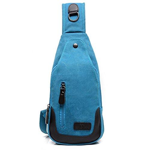 Wewod Herren Outdoor Leinwand Brusttasche Verschleißfest Sling Bag Crossbody mit Multi-Tasche Blau