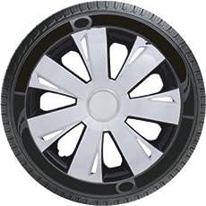 Oshotto Premium OSHO-WC77777BW 14-inch Black Double Paint Finish Universal Fitting-Push Type Car Wheel Cover (Set of 4)
