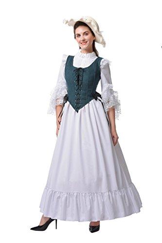 Damen Renaissance Mittelalterlichen Kleid Halloween Party Kostüm (GC313A+GC323A-NI, (Grüne Lady Erwachsene Kostüme Renaissance)