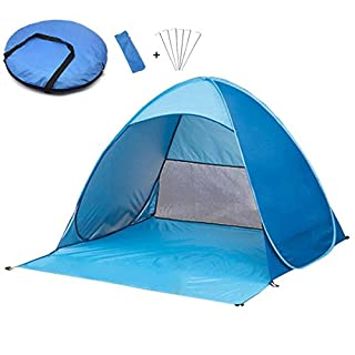 Beach tent, automatic pop up beach shell with ground sunscreen, UV protection, wind protection, with carrying bag, for 2-3 people, for outdoor use, fishing, beach, patio or garden