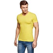 oodji Ultra Hombre Camiseta Sin Etiqueta Básica con Cuello Pico