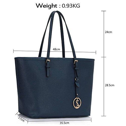 TrendStar Damen Konstrukteur Taschen Damen Große Shopper Bag Kunstleder Schulter Trage Taschen B - Marine
