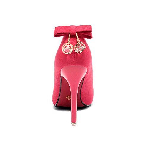 AllhqFashion Damen Hoher Absatz Mattglasbirne Eingelegt Ziehen Auf Spitz Zehe Pumps Schuhe Rot