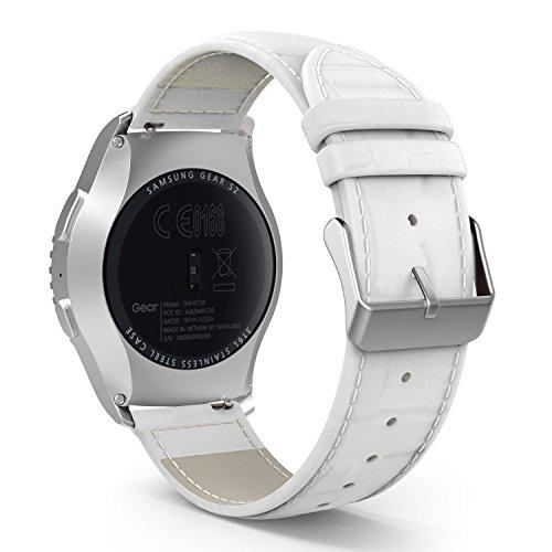 MoKo Gear S2 Classic Watch Armband - Klassisches Echt Krokodil Leder Uhrenarmband Uhr Band mit Metallschließe für Garmin Vivoactive 3/Galaxy Watch 42mm/Galaxy Watch Active/Gear S2 Classic, Weiß