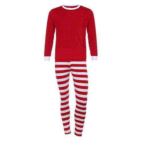 Familie Xmas Frauen Manner Familie passenden Weihnachts Pyjama Set Bluse + Santa Gestreifte Hosen Von Xinan (Rot❤️ Herren, M) (Passenden Family Pyjama-sets Für Weihnachten)