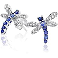 Bling Jewelry Simulated Sapphire September Birthstone Dragonfly Pave CZ Stud earrings 925 Sterling Silver 11mm RVfce