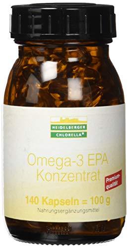 Heidelberger Chlorella - Omega-3 EPA Konzentrat mit DHA Kapseln, aus Fischölkonzentrat, Premiumqualität, hergestellt in Deutschland, 100 g, 140 Kapseln -