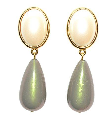 Sehr pompös: Vergoldete Clip-Ohrstecker mit einem perlmuttfarbenen Stein und einem tropfenförmigen grauen Anhänger von ()