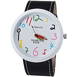 Lovely crayons pattern pointer quartz female watch - black