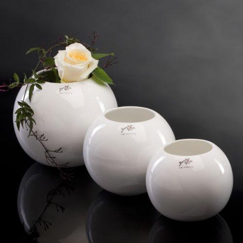 Porzellanvase Kugel Vase Porzellan Blumenvase Tischvase rund 15 cm