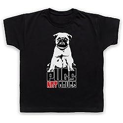 Pugs Not Drugs Slogan Camiseta para Niños, Negro, 7-8 Años