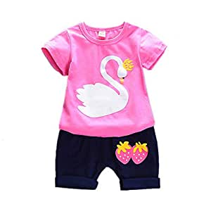 85ced62d6b429 BibiCola sunnmer Children Girls Clothing Sets 2019 Fashion Cartoon Cotton Clothes  Sets Girls Kids Casual Tops+Short Pants 2pcs (Rose red, ...