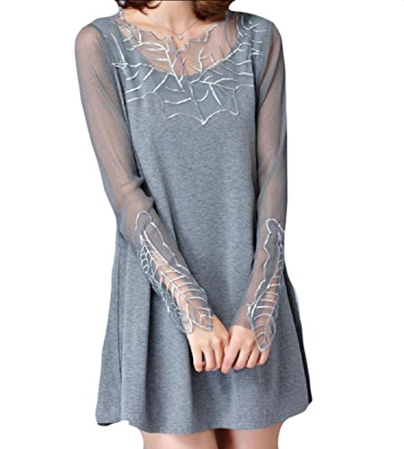 CuteRose Womens Solid Colored Long Sleeve Knit Embroidered Shirt Dress Grey XL Express Womens Long Sleeve Shirt