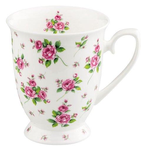 Ambiente Becher - Mug - Tasse - Tee / Kaffee Evelyn White - Rosen- ca. 0.25L - Ideal Als Geschenk White Rose Tasse
