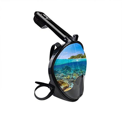 KepooMan 180° panorámicas cara llena Snorkel Máscara EASYBREATH con antivaho y linternas diseño, Mirrored Lens, L-XL