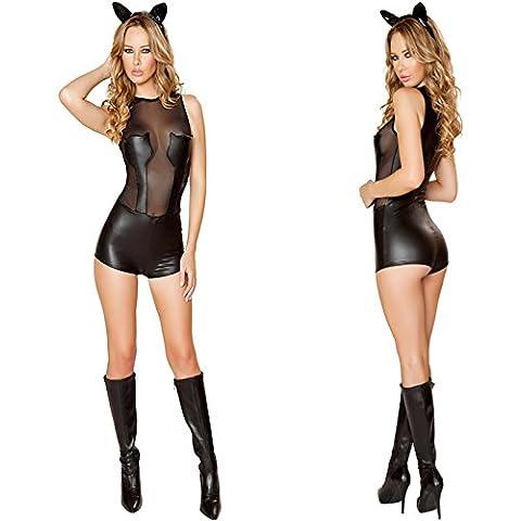 LAVINI COSPLAY-Bar neta empalme de hilo de charol chica gato club de baile de tubo leotardo disfraces de Halloween