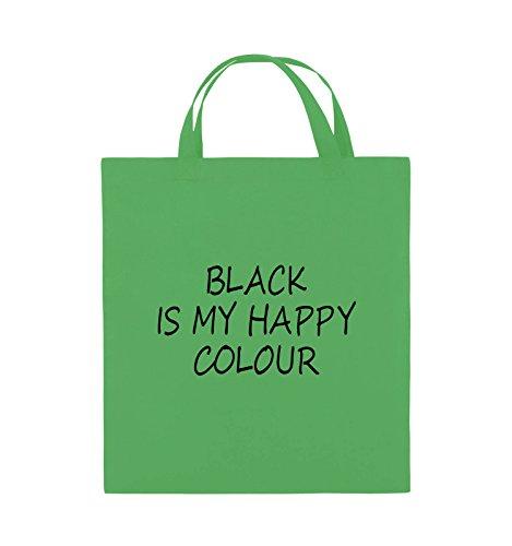 Comedy Bags - BLACK IS MY HAPPY COLOUR - Jutebeutel - kurze Henkel - 38x42cm - Farbe: Schwarz / Pink Grün / Schwarz