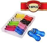 KINYOOO 16er-Pack 510er Drip Tips aus Kunststoff 510 Mundstücke 28mm Länge (Rot * 2, Gelb * 2, Blau * 2, Rosa * 2, Schwarz * 2, Lila * 2, Grün * 2, transparent * 2)