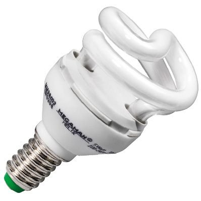 Weiße Miniatur-leuchtstofflampe (Megaman Spiralform 8W 8W Leuchtstofflampe–Leuchtstofflampen (8W, 10000h, weiß, AC 220–240, 50–60, 8,3cm))