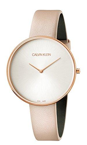 Calvin Klein Damen Analog Quarz Uhr mit Leder Armband K8Y236Z6