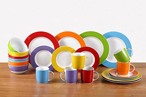 24 Piece Colour Band Dinner Set by Waterside Fine China Fine China-band
