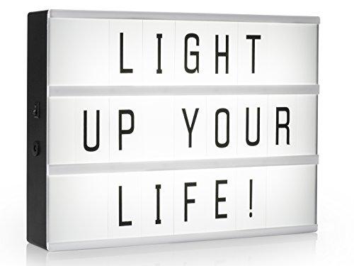Light-Box / Leuchtkasten A4 mit 85 Buchstaben und Symbolen, Deko-Licht-Box inkl. Netzadapter