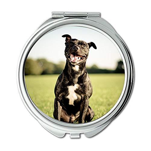 Yanteng Spiegel, Reise-Spiegel, bunten niedlichen Hund Pitbull Hund, Taschenspiegel, 1 X 2 X Vergrößerung