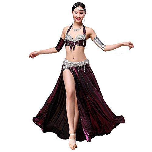 Byjia Dance costumes Bauch Tanzen Performance Frau Handmade Diamant Kristall Anhänger BH Rock Arm Tragen Modern Trainieren Kostüm Purple S