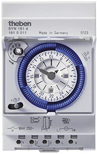 Theben SYN 161d 1610011 - Horloge de programmation analogique à programme journalier