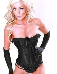 Corset en satin noir avec dentelle, taille S-2XL vous faire paraître plus glamour!