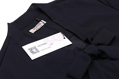 ACEVOG Damen Bluse 3/4 Ärmel Beiläufiger Chiffon Loose Fit Shirt Tops mit Rundhals Schwarz