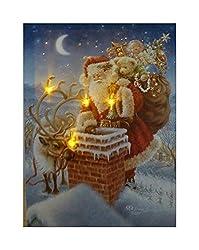 UK-Gardens Weihnachtsmann auf dem Dach - Festliches Weihnachtsbild mit LED-Lichtern, batteriebetriebener Timer, Glasfaserlampen, Leinwanddruck, 40 x 30 cm