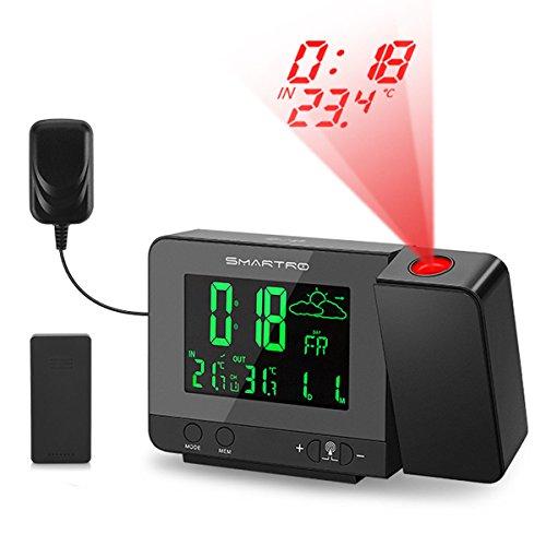 SMARTRO Projektionswecker, Projektionuhr Wecker mit projektion, wetterstation Funk, digitaler Wecker, Dual-Alarm, USB-Ladeanschluss, 12/24-Stunden, Datens