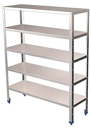Rayonnage (L)80-(H)175-(P)30 cm inox 5 niveaux avec étagères de 0,8 mm depaisseur