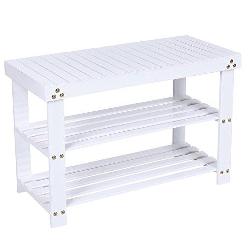 Songmics schuhschrank schuhbank mit sitzbank bambus schuhregal mit bank garderobenbank Weiß bis max. 150 kg 70 x 28 x 45 cm LBS04B