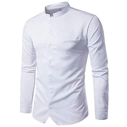 T-shirt da uomo, da uomo, da uomo, camicia a taglie comode maniche lunghe, collo alto, manica lunga, colletto da lavoro abiti (color : bianca, size : m)