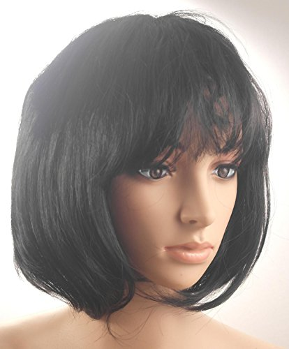 Fashionable Pretty Short Black Bob Babe Wig Girls Ladies 20s 60s 70s 80s 90s Fancy Dress Party Cosplay Hairstyle (Fancy Halloween Dress 1920s)