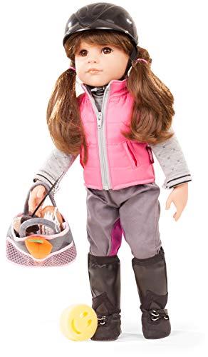 Götz 1859087 Hannah geht reiten Puppe - Loves Horseback Riding - 50 cm große Stehpuppe, braune Haare, Pony und braunen Augen - 20-teiliges Spielzeug-Set