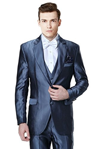 MYS da uomo personalizzata Groomsman lucido 2button Suit Gilet Pantaloni, colore: blu scuro Blue Su (One Button Wool Blazer)