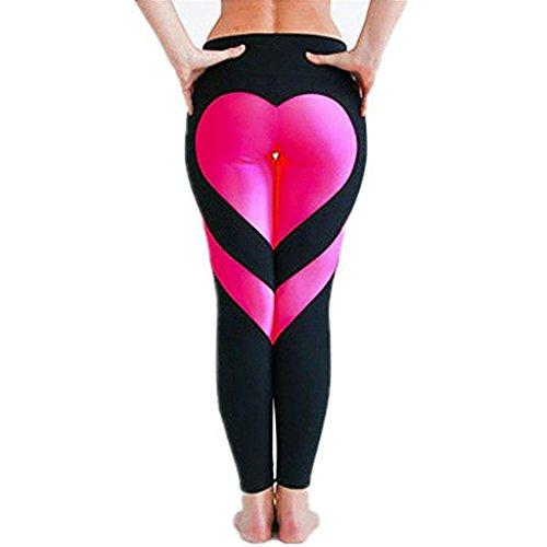 Oyedens Damen SchöNe Liebe Herz Sportkleidung Elastische Yoga Lange Leggings Fitness Hose (S, Hot Pink)