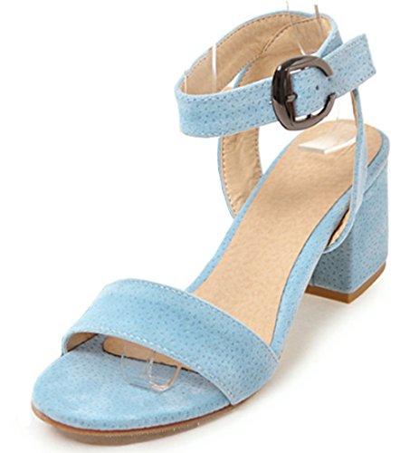 Aisun Damen Einfärbig Offene Zehe Knöchel Riemchen Mittlerer Blockabsatz Sandale Mit Schnalle Blau