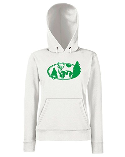 T-Shirtshock - Sweats a capuche Femme FUN1179 deer oval diecut decal 66587 Blanc