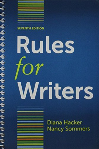 Rules for Writers with Writing about Literature 7e (Tabbed Version) & Arlington Reader 3e 7th edition by Hacker, Diana, Sommers, Nancy, Bloom, Lynn Z., Smith, Louise (2012) Spiral-bound par Diana, Sommers, Nancy, Bloom, Lynn Z., Smith, Louise Hacker