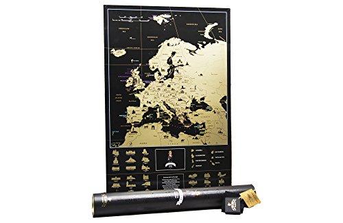 (MyMap Schwarze Rubbel Europakarte – Rubbel Europa Karte Deluxe Edition - Weltkarte zum frei rubbeln - Weltkarte zum freirubbeln - Scratch Off World map - Rubbelkarte (Black 68 x 47))
