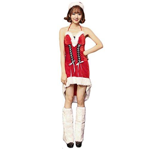 Fxwj Damen weihnachtsfrau kostüm kleid xmas outfit dress hat women christmas fancy rock und (Christmas Womens Kostüme Fancy Dress)