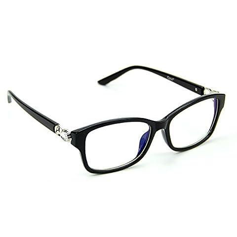Cyxus filtre bleue lumière lunettes Classique Noir Cadre transparent lentille mieux dormir [anti fatigue oculaire] blocage des uv unisexe(hommes / femmes)